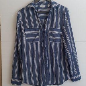 NY&Co blue pin stripe button down blouse m